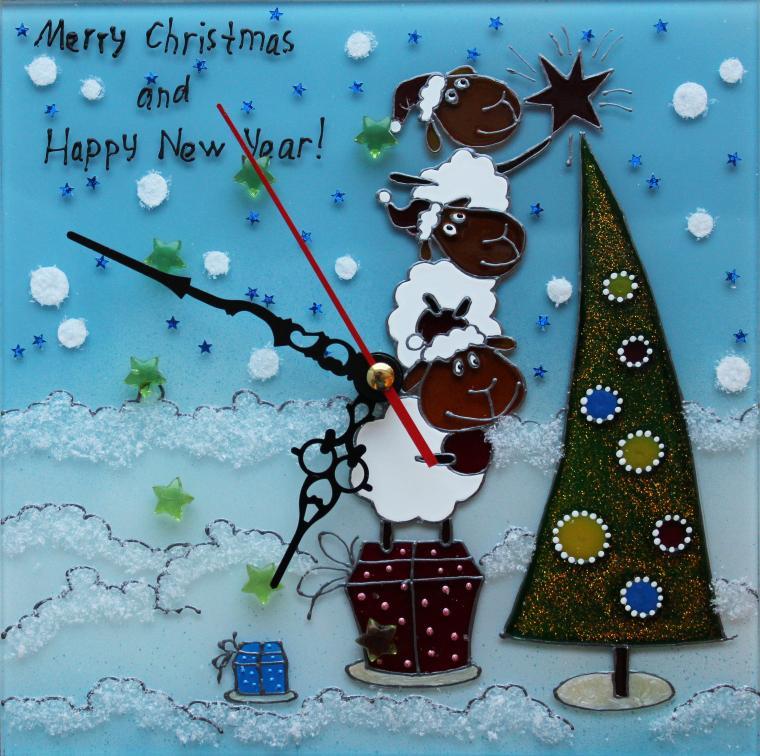подарок к новому году, год овцы, настенные часы