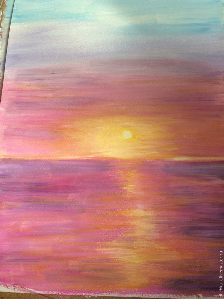 How to Paint a Sea Sunset with Gouache, фото № 5