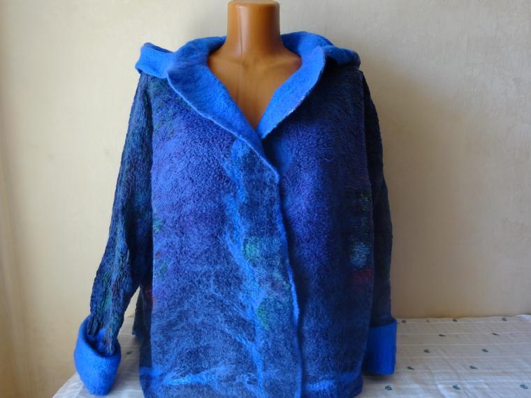 валяное кимоно, курточка с капюшоном