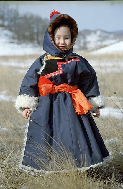 A Buryat Child Wearing Traditional Clothes, Buryatia, Lake Baikal