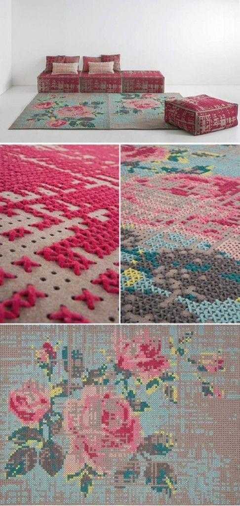Cross stitch- best rug ever.
