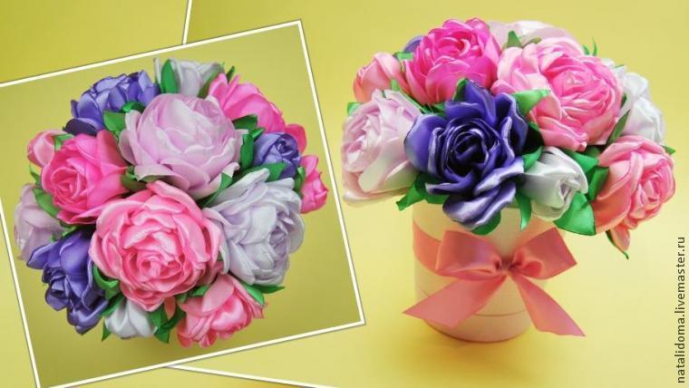 Горшочек с цветами из атласных лент своими руками