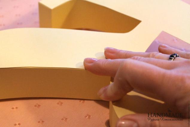 Накрываем готовый каркас буквы