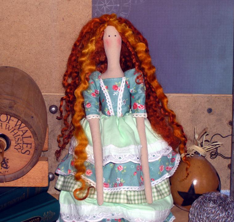 тильда, текстильная кукла, рыжая, бирюзовый, подарок, подруге