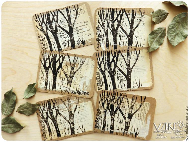 tree, business cards