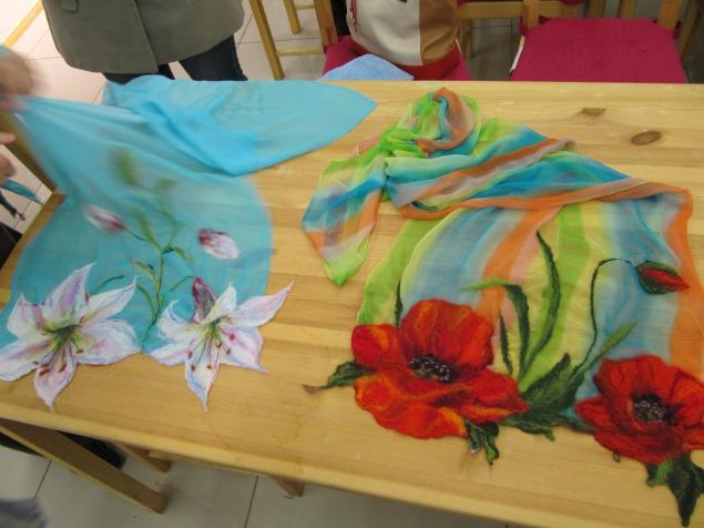 Валяние на ткани с рисунком