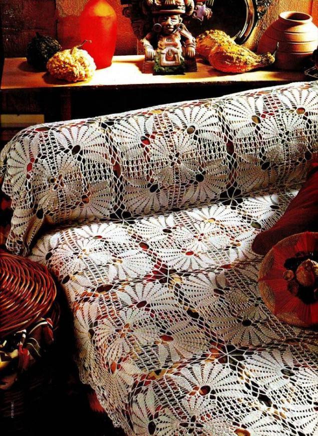 Вязание крючком скатерти пледы схемы фото 22