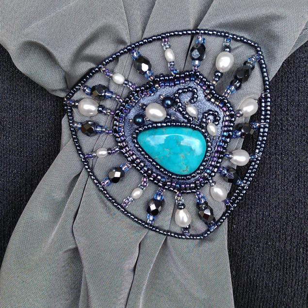 пряжка, кулон, многофункциональный, украшение для прически, брошь-булавка, вышивка бисером, отпуск на море