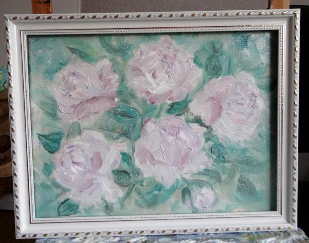 картина маслом, розы, лавандовый, оттенки лаванды, вуаль