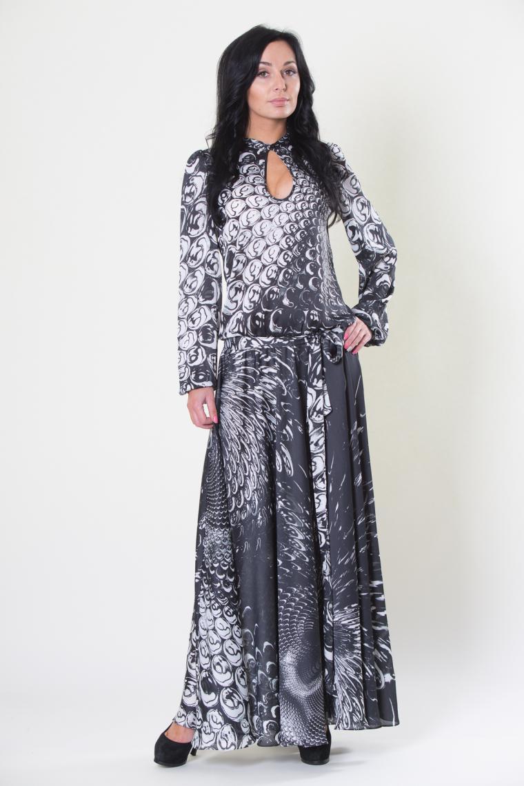 платье в пол, юбка солнце, платье макси, коричневый, серый, марракеш