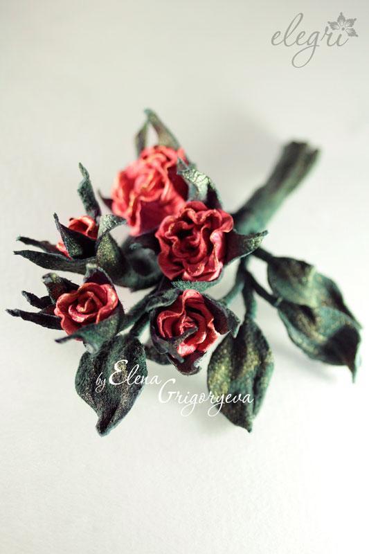 бутоньерка от elegri, кожаные цветы, экспресс мк