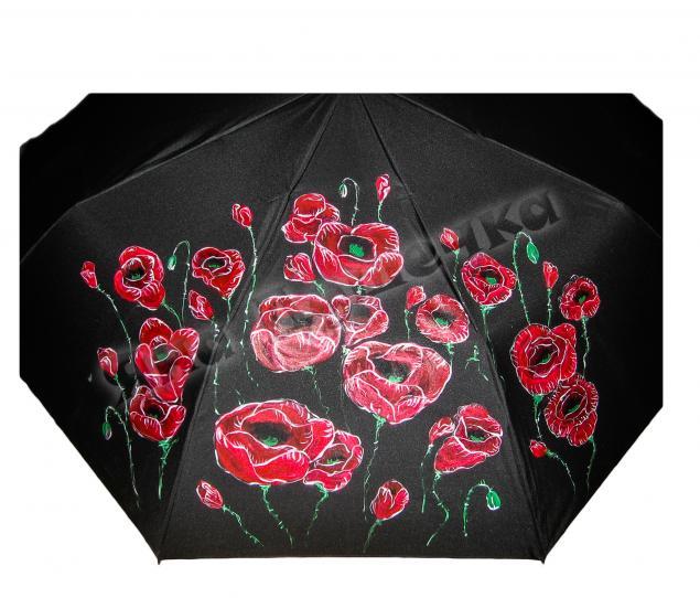 зонт, зонт с цветком, зонт с рисунком, зонт женский, зонт с росписью