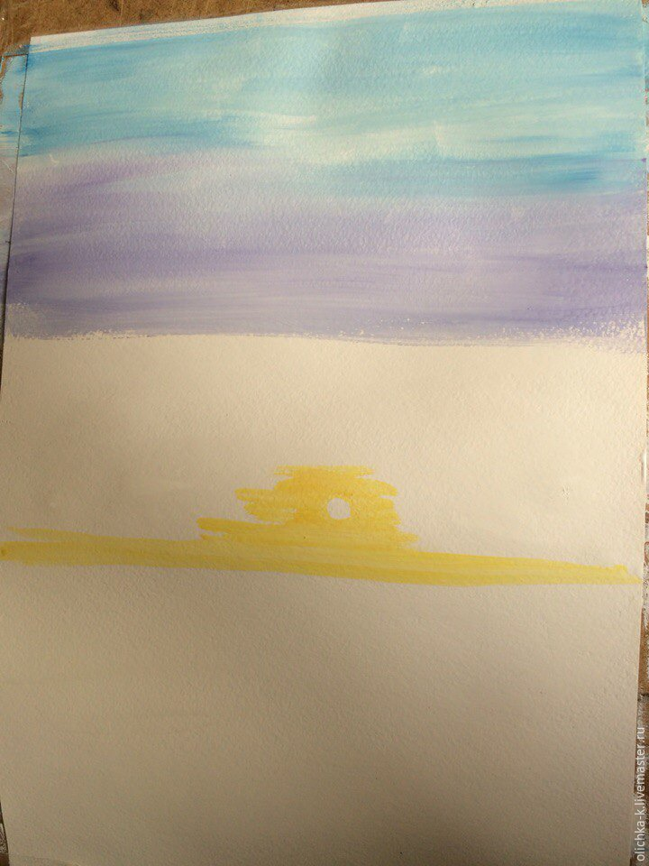 How to Paint a Sea Sunset with Gouache, фото № 1