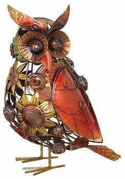 Sunflower Glass Owl Decor...would look great in my flower garden!