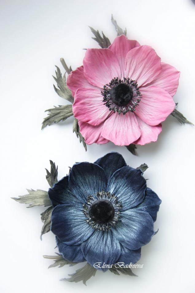 флористика, брошь цветок, работа с кожей
