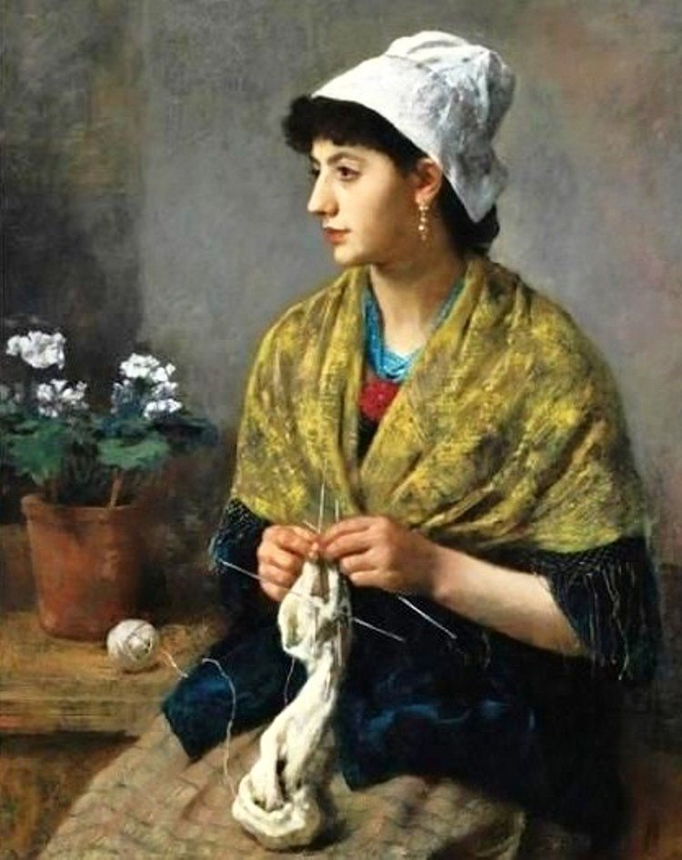 Девушки и женщины за вязанием в искусстве. . Обсуждение на LiveInternet - Российский Сервис Онлайн-Дневников