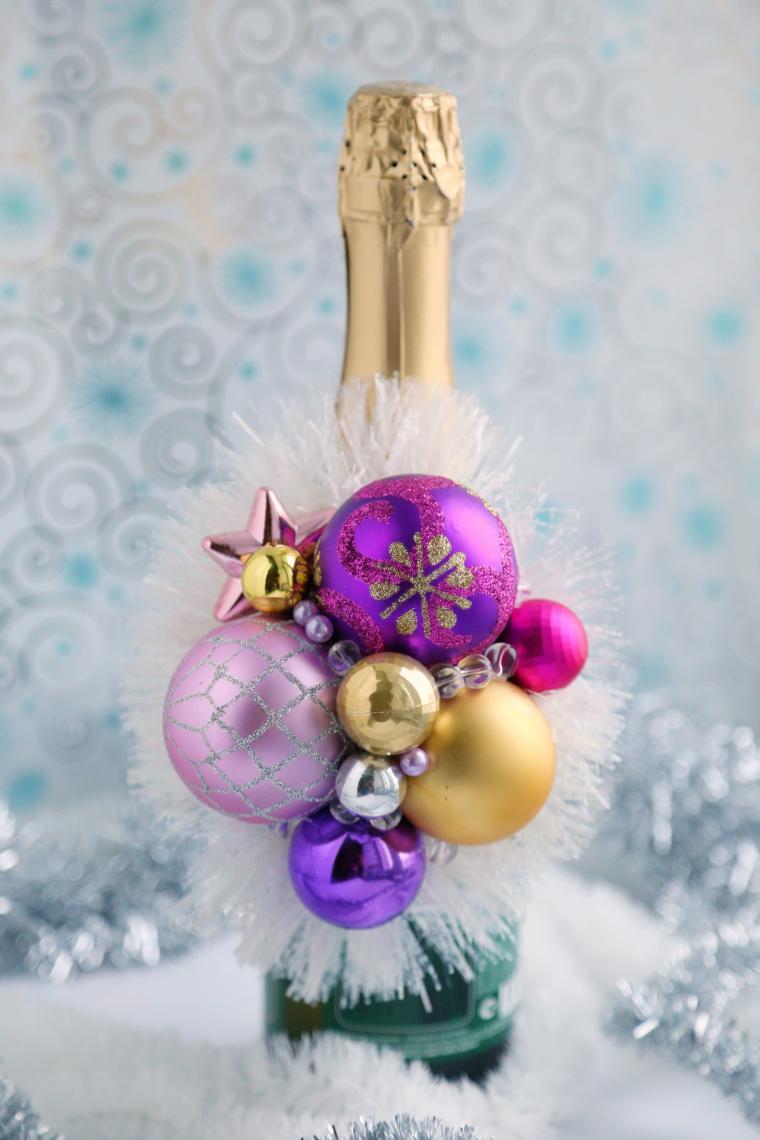 шампанское, праздник, новогодний декор, композиция