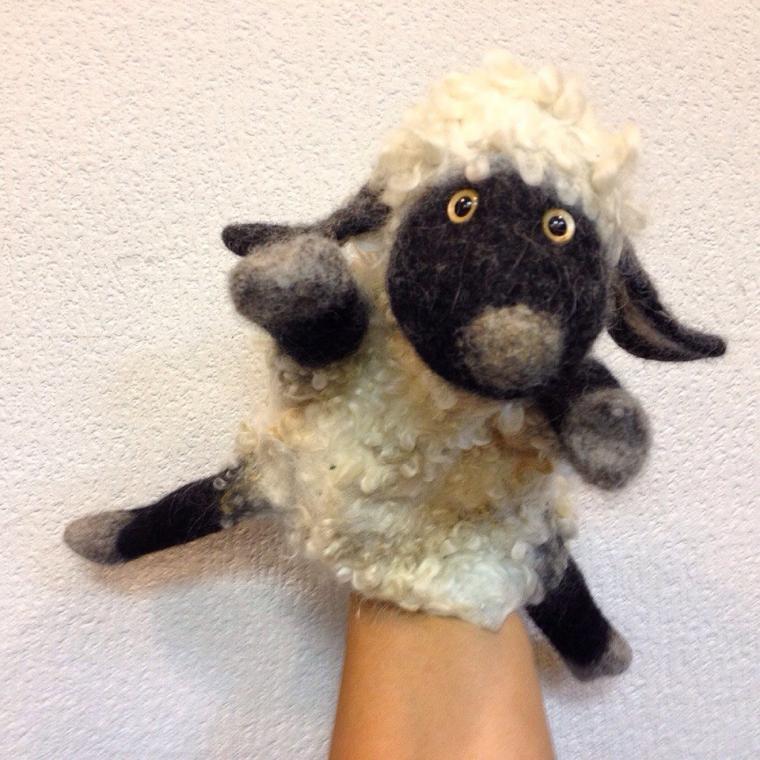 валяние, игрушки на руку, игрушки-бибабо, овечка