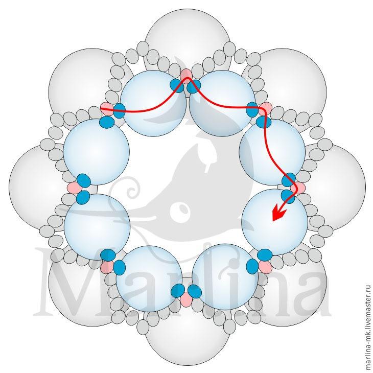 Jellyfish Pendant DIY with Pearls and Swarovski Crystals, фото № 6