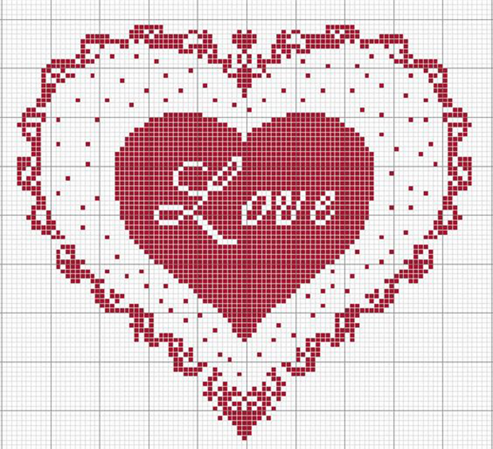 Вышивка картинки сердца