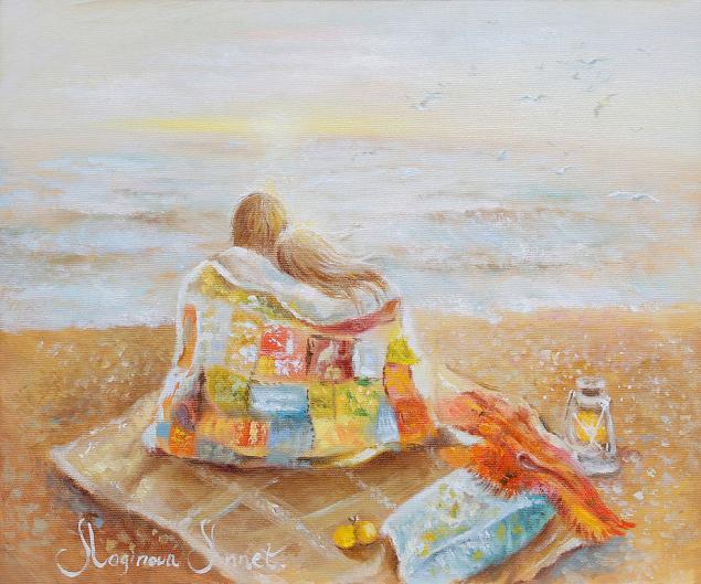 он и она, двое, море, картина маслом
