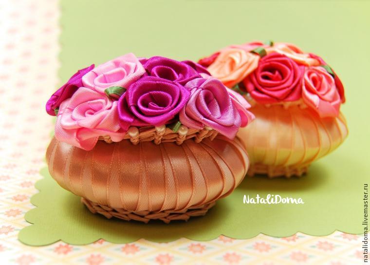 корзиночка из лент, сувенир, корзинка, цветы, саше