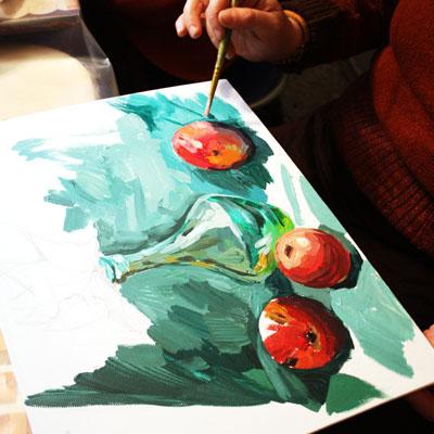 мастер-класс, натюрморт, рисование тушью, живопись акрилом