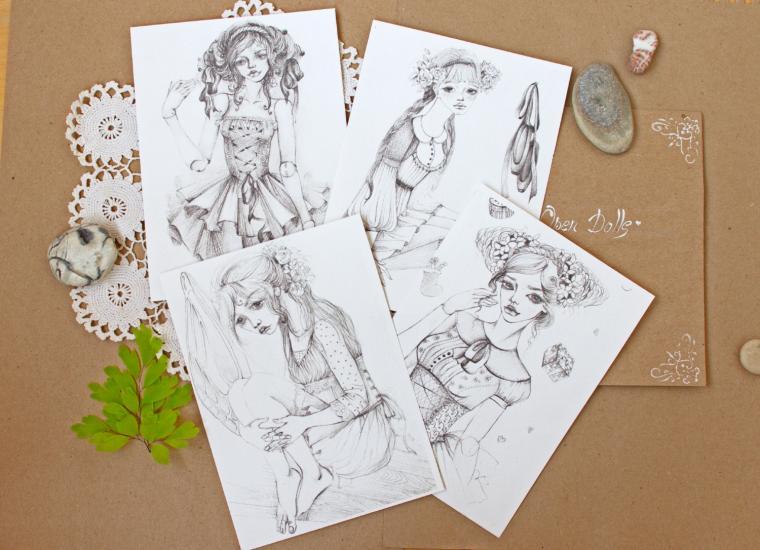 открытка, открытки, открытки ручной работы, рисунок, рисунки, графика, куколка, девочка, милый, мило, скрап материалы, скрапбукинг, скрап