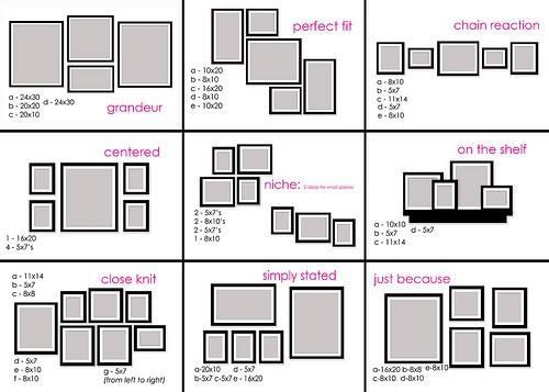 как повесить красиво рамки с фото на стену