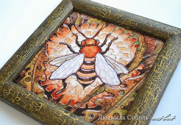 панно, керамическая плитка, пчела