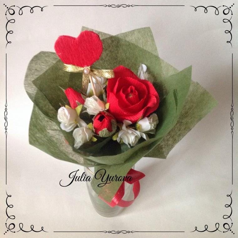 букет из конфет, валентинка, цветы, цветы ручной работы, творчество, мастер-класс, студия