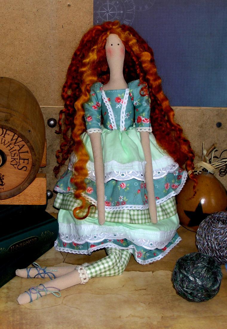 кукла, интерьерная кукла, рыжеволосая, темно-бирюзовый, купить, девушке
