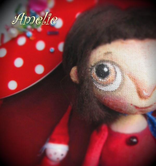 амели, авторская кукла, текстильная кукла, красный, процесс