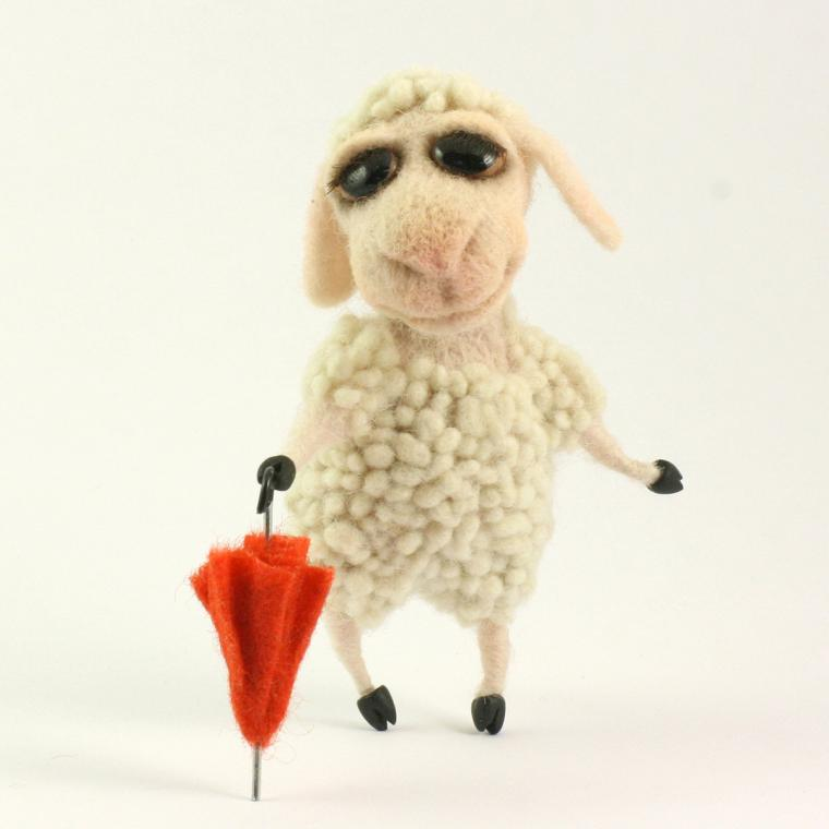 мастер-класс по валянию, барашек, игрушка из шерсти