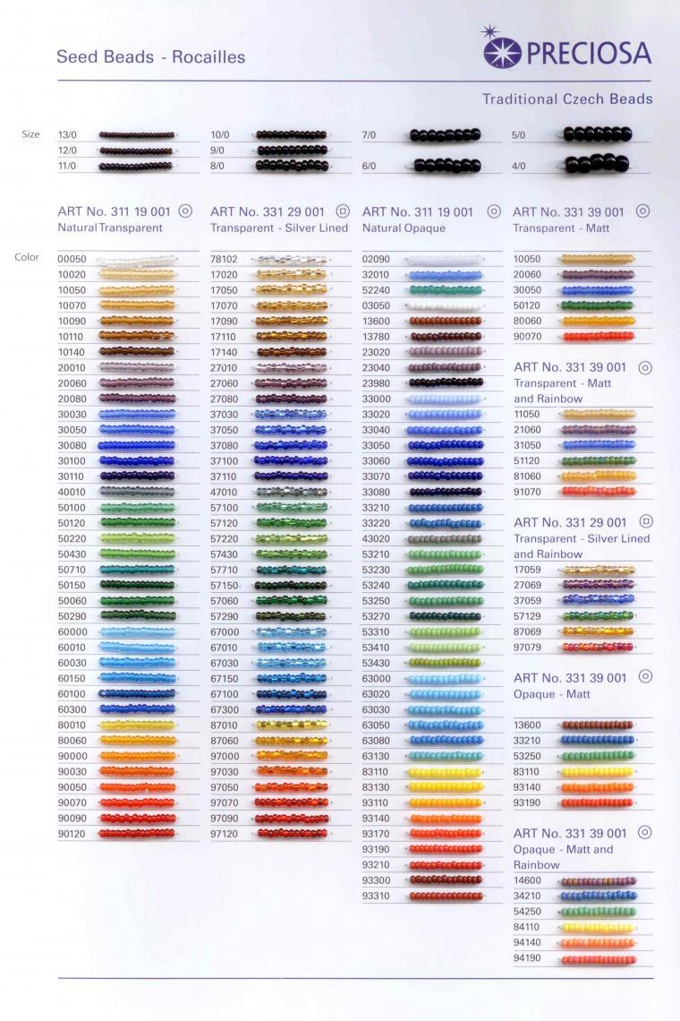 Таблица цветов бисера с названием цвета