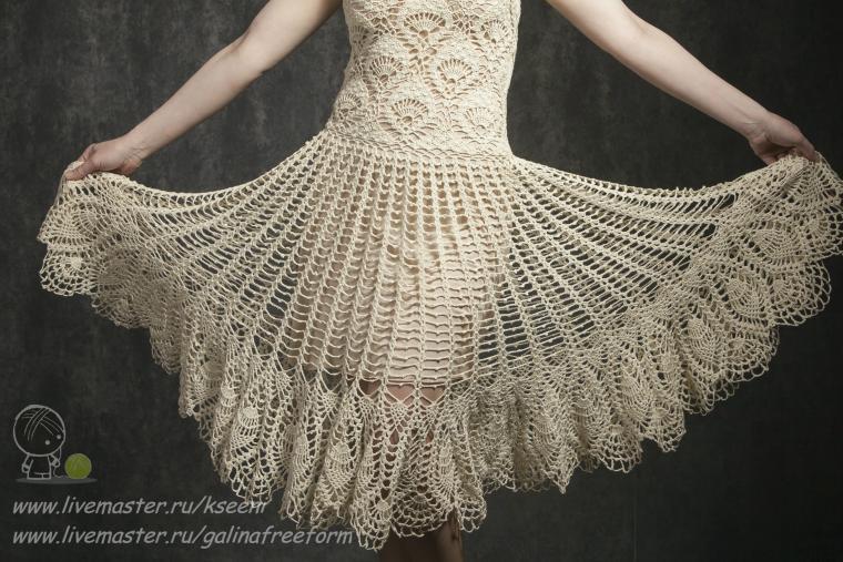 вязание на заказ, торжественное платье