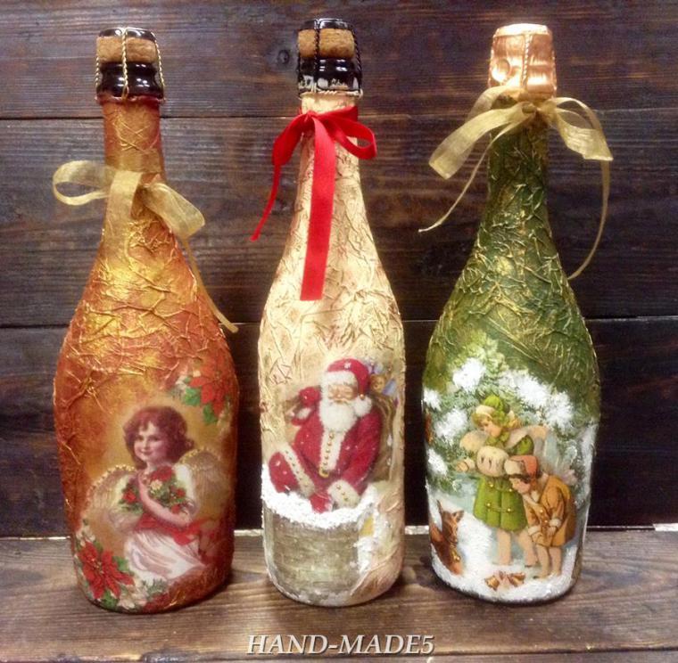 Мастер класс декупаж новогоднего шампанского
