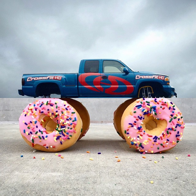 monster truck + donuts.  another cloudy day on the east side. consider this my attempt at bringing a little sun/fun to the party. and personally I think it would behoove the dunkin' donuts corporation to construct such a vehicle. more #combophoto's  here. and an outtake at @combophotofail. #monstertruck #truck #donut #vscocam
