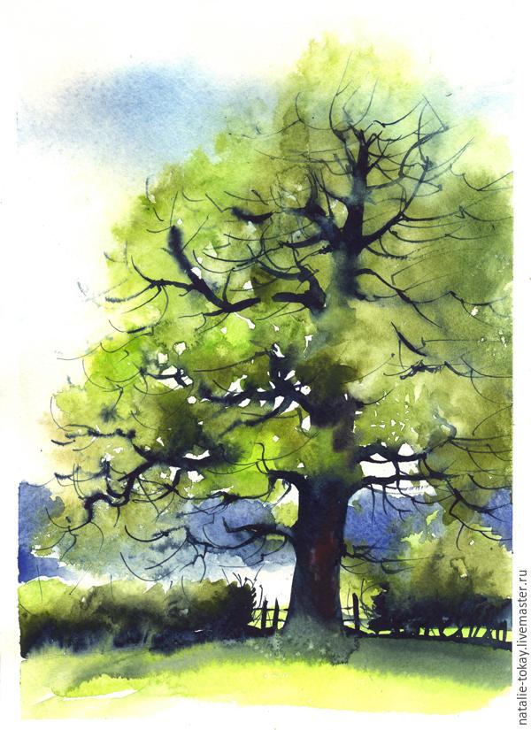 Рисуем гуашью дуб