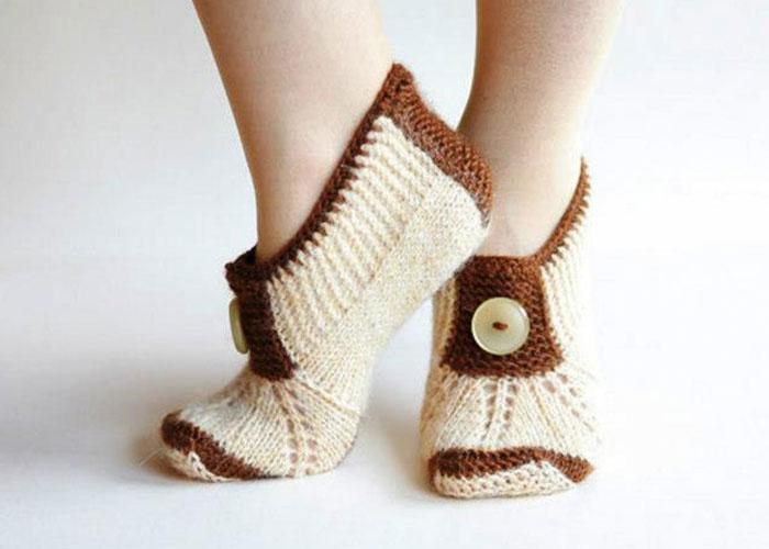Вязание спицами носки тапочки на двух спицах