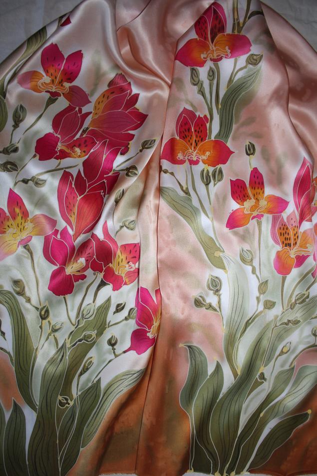 батик, шелковый платок