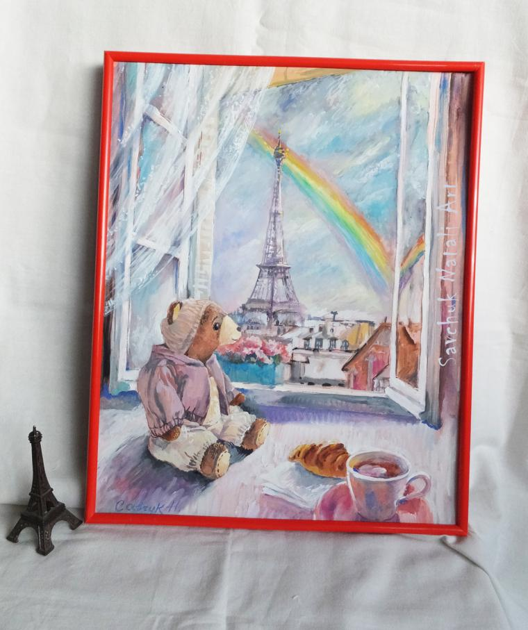 новая работа, новая серия картин, париж, медведь тедди, картина в подарок