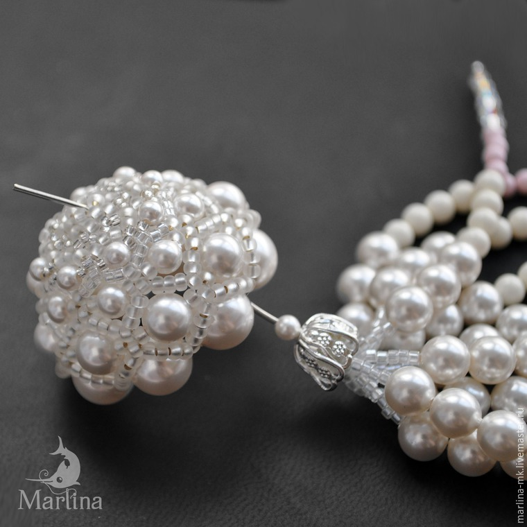 Jellyfish Pendant DIY with Pearls and Swarovski Crystals, фото № 37