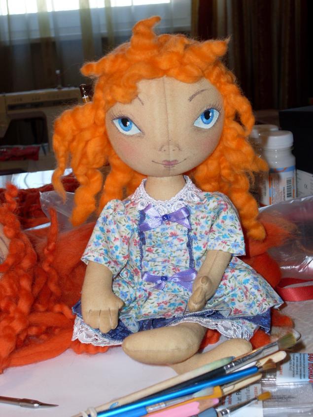 мк, делаем прическу кукле, тыквоголовка кукла