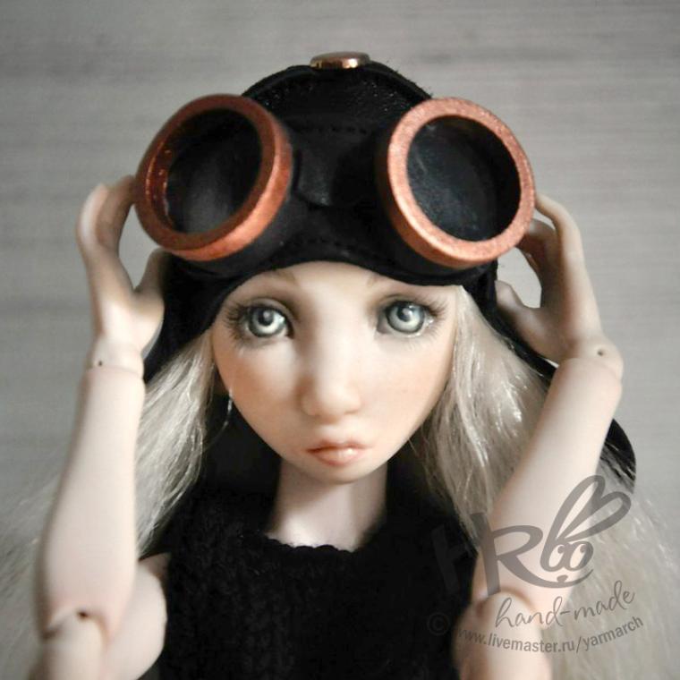 кожаный шлем, очки для кукол