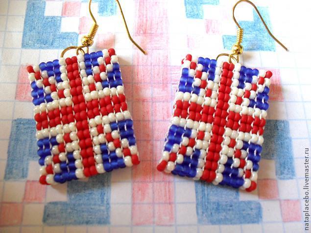 Как сделать британский флаг серьги