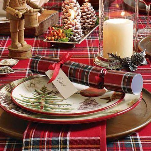 Tartan Plaid in a Christmas Tablescape