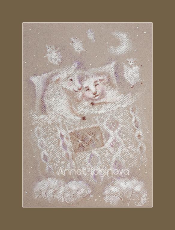 картины пастелью, пастельный, картины с овечками, овечка в подарок