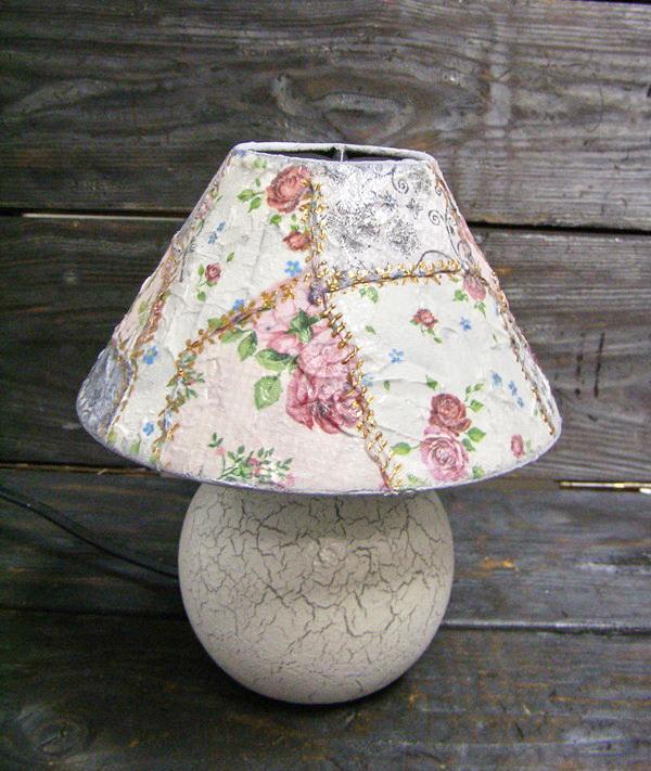 Декупажный пэчворк - имитируем лоскутное шитье! Делаем уникальную лампу!, фото № 14
