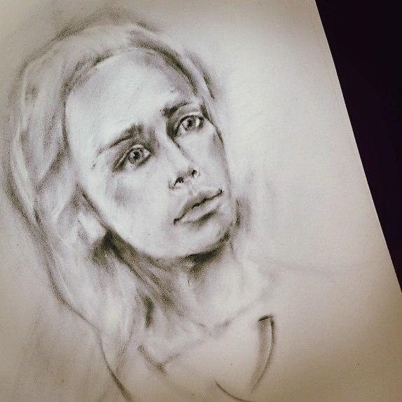 портрет, сухая кисть, график работы